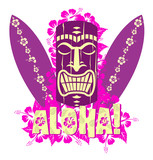 Fototapety Vector illustration of tiki mask with surf boards
