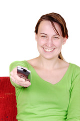 Young women with remote control