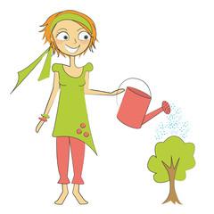 femme arrose arbre