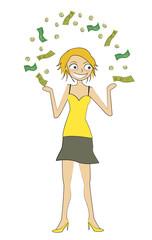 femme jongle argent