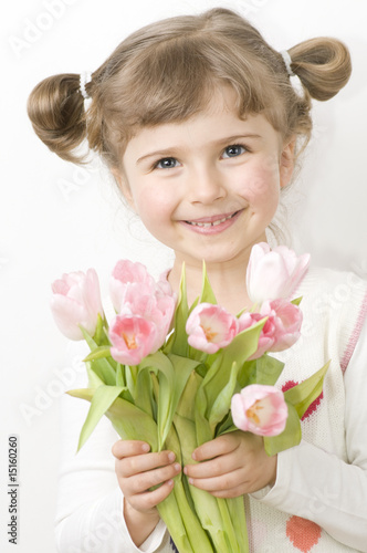Cute girl with tulips