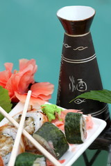 Sushi rolls and sake set