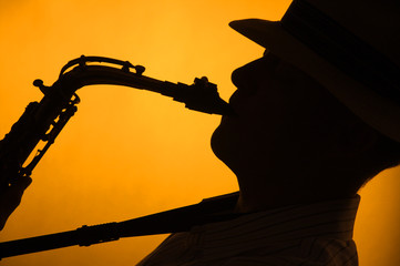 Silhouette of Sax Performer