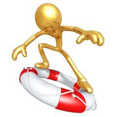 Gold Guy Surfing On Life Preserver