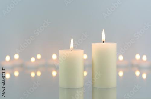 Leinwandbild Motiv Weiße Kerzen