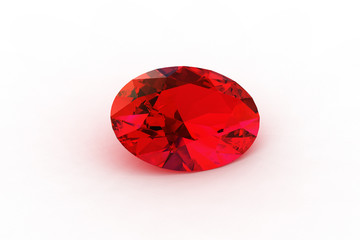 Red Oval Rubby - High Resolution Ray Tracing Render