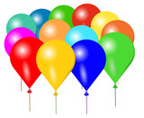 Vector illustration of colorful balloons on white background.