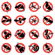 rodent and pest with warning signs - 15179230