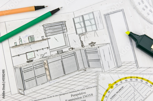 Leinwandbild Motiv Küchenplanung