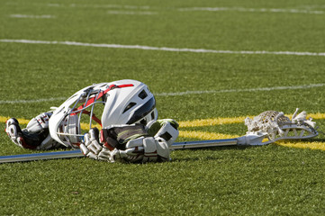 Lacrosse euqipment on the field