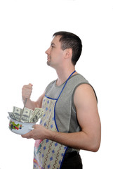 The man cooking money