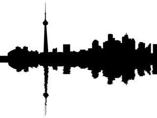 Toronto skyline reflected with ripples illustration