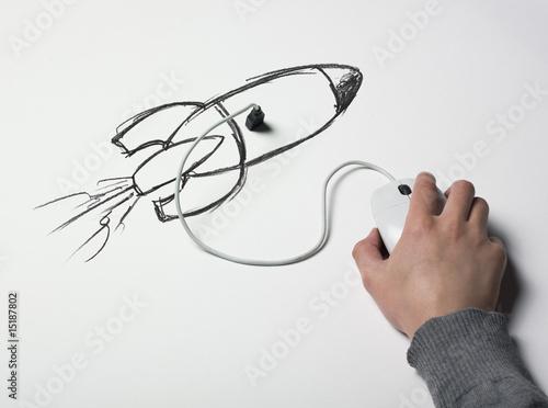 Papiers peints Spatial souris connectée usb fusée