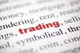 mot trading commerce rouge texte flou poster