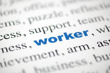mot worker ouvrier lettres bleu texte flou