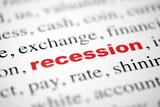 mot recession rouge lettres rouge texte flou poster