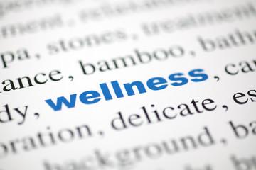 mot wellness bien-être bleu texte flou