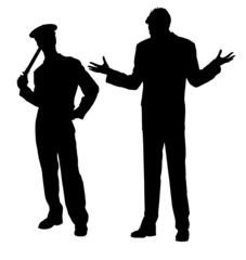 Police and suspect