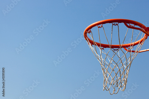 Poster Basketball hoop against blue skies. concept for aspiration