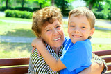 Grandmother with grandson poster