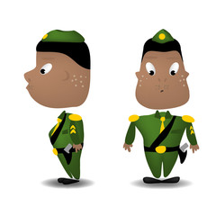 A cartoon illustration of a soldier front and side view