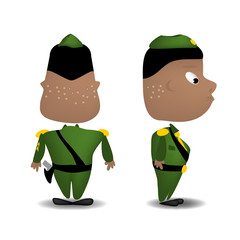 A cartoon illustration of a soldier rear and side view