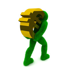 3D man and simbol euro isolated on white.