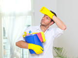 household home cleaning man for better hygiene poster