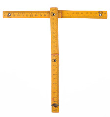 old yellow ruler forming font symbol T