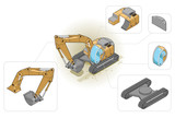 isometric illustration of an excavator and his components poster