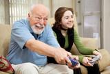 Senior Man Playing Video Games poster