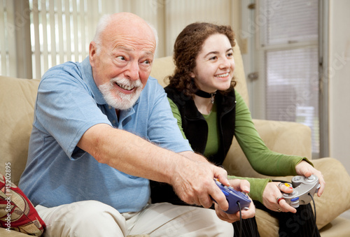poster of Senior Man Playing Video Games