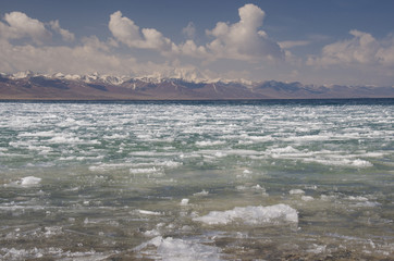 Nam-tso lake in early spring