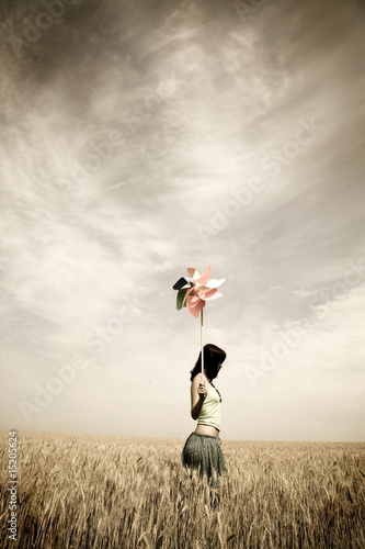 girl at field in retro style