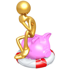 Gold Guy With Life Preserver Piggy Bank