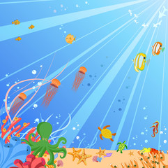 Colorful background with creatures of the seas