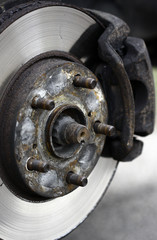 brake disk of a car during tyre change