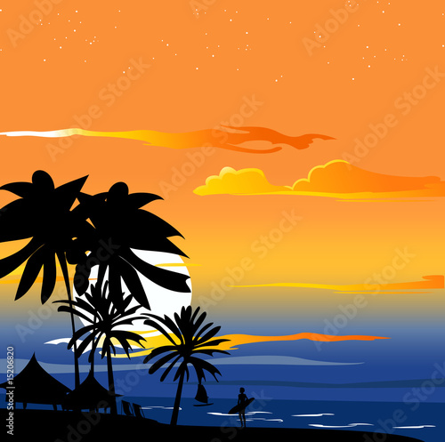 romantic Sunset on the tropical ocean coast
