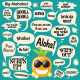 Various phrases in comic bubbles (Hawaiian Pineapple) poster