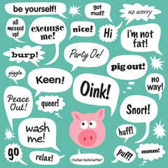 Various phrases in comic bubbles/balloons