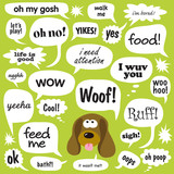 Various phrases in comic bubbles poster