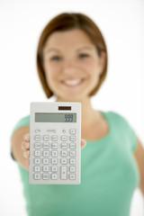 Woman Holding Calculator