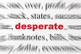 mot desperate désespéré mot rouge texte flou poster