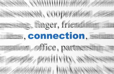 mot connection flou bleu