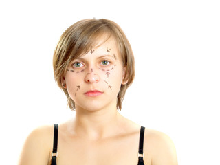 Face with lines for cosmetic surgery