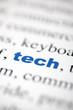 mot tech technologie texte flou mot bleu