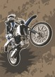 Vector illustration of motocross bike on dirt grunge background.