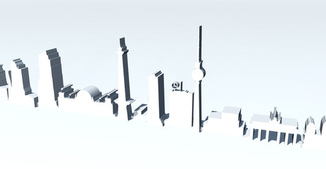 Berlin Skyline 3D Greyblue