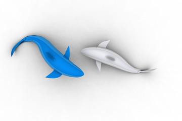 Blue and White Ceramic Shark Pair