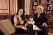 Portrait of multi-generation of female Bosnian family at home